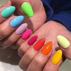One of the hottest nail art trends to try is rainbow nails designs. For this style, the nails will f. Dream Nails, Love Nails, Pretty Nails, Nyc Nails, Vacation Nails, Rainbow Nails, Rainbow Makeup, Nail Swag, Best Acrylic Nails