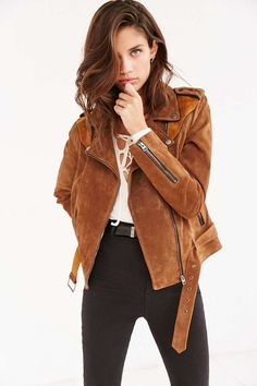 Ecote Suede Spliced Western Jacket - Urban Outfitters