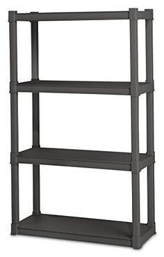 Sterilite 01643V01 4 Shelf Unit, Flat Gray Shelves & Legs, 1-Pack