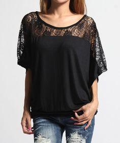 TheMOGAN $13.99 PLUS Lace Shoulder Banded Hem DOLMAN TOP Drape Jersey Blouso