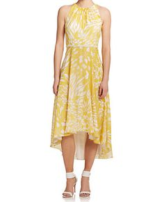 Love this Badgely Mischka  yellow floral halter neck high-low dress! perfect for and outdoor party or lunch date with friends. Check out Mavatar and be a part of this revolutionary new way to shop online !