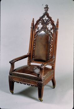 1847 Gothic arm chair, attr Th Brooks, Brooklyn, NY, The Met. Upscale Furniture, Victorian Furniture, Teak Furniture, Furniture Styles, Antique Furniture, Furniture Design, Chair Design, Gothic Chair, Gothic House