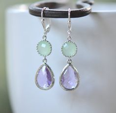 Lavender Teardrop and Mint Jewel Drop Earrings in Silver by RusticGem. Bridesmaids Earrings.