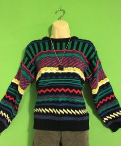 Vintage 80s Retro Indie Hipster 1980s knit pullover crew neck Sweater SM. $26.99, via Etsy.