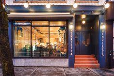 Bar Henrietta - Mile End, Montreal   Farrow & Ball, Hague blue
