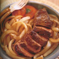Food recipes: Beef Steak with Onions