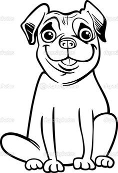 Black and White Cartoon Illustration of Cute Purebred Pug Dog for Children to Coloring Book — Vector by izakowski
