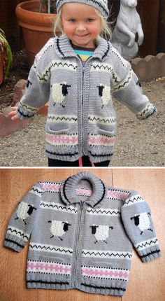 Free Knitting Pattern for Gabriel Baby and Toddler Cardigan - Long-sleeved baby sweater with adorable sheep. Designed by Debbie Bliss. Pictured project by pielinda. Baby Boy Knitting Patterns, Baby Girl Patterns, Baby Sweater Patterns, Baby Cardigan Knitting Pattern, Knitting For Kids, Free Knitting, Toddler Cardigan, Long Cardigan, Baby Pullover