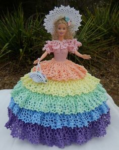 Barbie Fashion Doll Hand Crochet Southern Belle Easter Spring Rainbow Antebellum:
