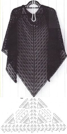 Crochet Beautiful Shawl – Best for You Poncho Au Crochet, Col Crochet, Crochet Shawl Diagram, Crochet Scarves, Crochet Stitches, Shawl Patterns, Crochet Braids, Diy Crafts Crochet, Crochet Free Patterns