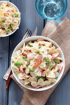 Impress your family with this colorful & #flavorful Creamy Dill Farfalle with Salmon.