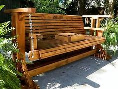 Glider Swing with Stand, Patio Glider with Cup Holder, Patio Furniture, Wood Porch Swing, Patio Porch Bench, Bench Swing, Patio Swing, Porch Swings, Porch Swing Frame, Tree Bench, Outdoor Swings, Diy Porch, Diy Deck