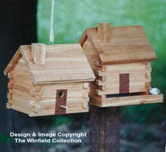 Log Cabin Birdhouse/Feeder Wood Plans