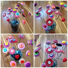 DIY Button flowers in a mason jar filled with black sand and blue shells. We used floral wire to attach the buttons. Fun project with the kids.