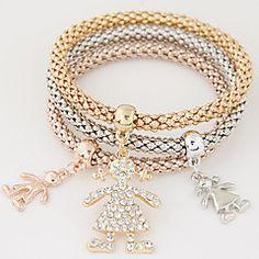 Da donna Bracciali con ciondoli Strass imitazione diamante Lega Stile semplice Di tendenza Arcobaleno Gioielli 1 Set