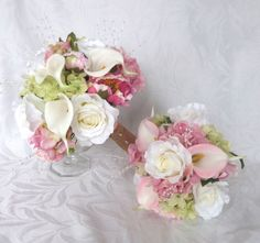 Blush pink Wedding bouquets and boutonnieres roses calla lilies and hydrangea by ChurchMouseCreations on Etsy https://www.etsy.com/listing/173815884/blush-pink-wedding-bouquets-and