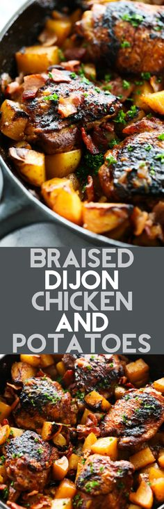 This Braised Dijon Chicken and Potatoes is a one skillet meal loaded with flavor. It is a delicious recipe compiled of caramelized onions, crispy bacon, roasted potatoes and juicy chicken. This will be one unforgettable all-in-one meal you will want to make time and time again!