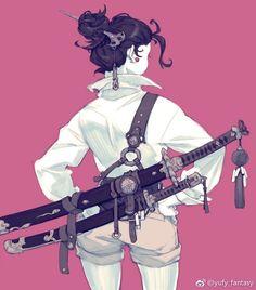 Katanahalterung by Miva - Character Design Club 2019 Female Character Design, Character Design References, Character Design Inspiration, Character Concept, Character Art, Character Creation, Fantasy Characters, Female Characters, Anime Characters
