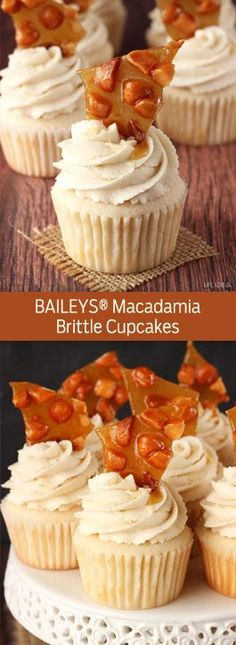 BAILEYS® Macadamia Brittle Cupcakes - my new favorite cupcake! SO good! (scheduled via http://www.tailwindapp.com?utm_source=pinterest&utm_medium=twpin&utm_content=post386325&utm_campaign=scheduler_attribution)