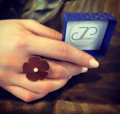 Leather ring with pearl  #jpcreation