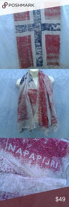 """NAPAPIJRI  GEOGRAPHIC UNION JACK LARGE SCARF RARE GRAY, BLUE, BURGUNDY UNION JACK DETAILS,  60"""" X 39"""" ,  FRAY EDGES,  GREAT PRE-LOVED CONDITION,  NO SIGNS OF WEAR, RIPS, SMELLS OR STAINS NAPAPIJRI GEOGRAPHIC  Accessories Scarves & Wraps"""