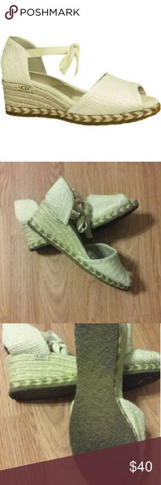 Ugg Wedge Burlap Espadrille These wedge sandals by Ugg Australia are in great condition. They were only worn a couple of times. The soles are dirty, but the burlap and insoles are in great condition! UGG Shoes Espadrilles