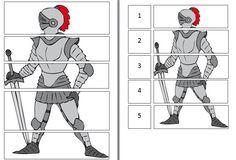 Gooi een ridder: De kleuters gooien om de beurt met de dobbelsteen. Ze moeten kijken welk onderdeel ze mogen nemen op de cijferkaart. Wie heeft als eerste een volledige ridder?