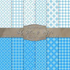 Simply Elegant Designs in Sky Blue & White – Digital Paper Pack 45