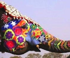 the Elephant Festival in jaipur, Rajasthan india. Beginning of March each year. In Jaipur this is on the same day as the Holi Festival. Image Elephant, Elephant Love, Elephant Art, Colorful Elephant, Elephant Parade, Elephant Tattoos, Elephant Images, Happy Elephant, Elephant Pictures