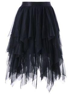 Asymmetrical Layered Tulle Skirt - BLACK M