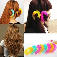 Fashion 8pcs Magic Hair Spiral Curls Roller Curler Donuts DIY Hair Styling Tool #Fashion