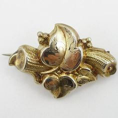 Antique Victorian Rolled Gold Leaves Pin