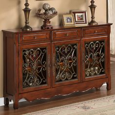 Powell Furniture Three Door Scroll Console Table