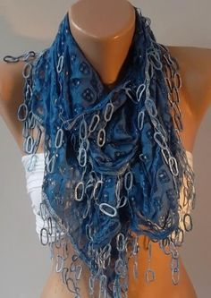 Blue Lace and Elegance Shawl / Scarf  with Lace Edge by womann