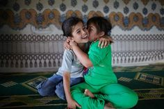 Syrian child refugees,(sisters) July,2013, in Lebanon.