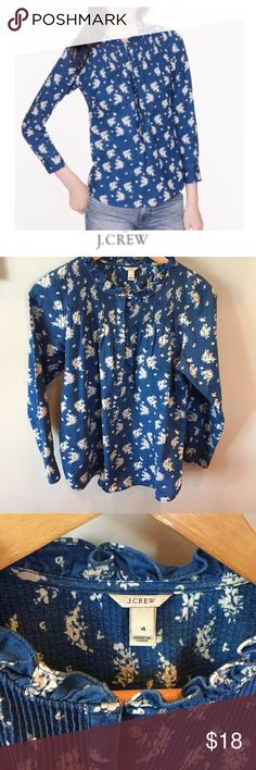 J. Crew Indigo Floral Popover Top J. Crew Indigo Floral Popover Top. Inspired by a vintage wallpaper swatch. 18.5 inch bust. Meant to be a looser fit. Ruffle Neckline.  No flaws or stains. Feel free to make an offer or bundle & save!  Cotton. Body length: 26 in. J. Crew Tops Blouses