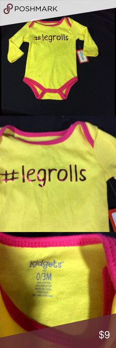 Kidgets one piece #legrolls outfit sz 0-3mths NWT Kid gets bright yellow one piece outfit. Hashtag leg rolls. NWT. Size 0-3 months. Smoke free home. kidgets One Pieces Bodysuits