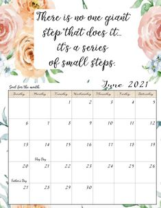 FREE Printable 2021 Monthly Motivational Calendars. Space for setting goals, different motivational quote each month, holidays marked. Get motivated and organized with this free printable calendar. Printable Blank Calendar, Kids Calendar, 2021 Calendar, Free Printable Coloring Pages, Free Printables, Inspirational Calendar, Monthly Quotes, Monthly Planner, Setting Goals