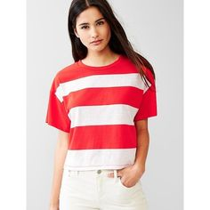 Gap Women Stripe Crop Tee ($14) ❤ liked on Polyvore featuring tops, t-shirts, red stripe, regular, red stripe t shirt, stripe tee, red striped tee, crop top and red t shirt