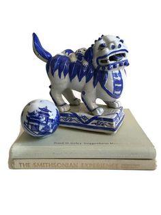 Vintage Foo Dog Statue Cobalt Blue White Porcelain by studio180