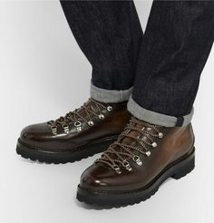 Ralph Lauren Purple Label hiking-style boots. Crafted in Italy from rich  burnished-