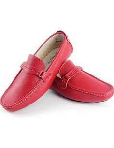 Mens Leather Buckle Driving Casual Loafers Slip On Horn Dress Shoes   Overbling.com
