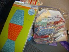 Pokeydotquilting - Putting the Aqququilt die cutter to work! This is a Tumbler Quilt Kit, now waiting for the right time ~