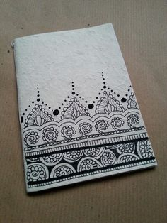 """Diy notebook in rice paper. Zentangle design"" This would make a beautiful handmade card Mandalas Drawing, Zentangle Drawings, Doodles Zentangles, Doodle Drawings, Doodle Patterns, Zentangle Patterns, Zen Doodle, Doodle Art, Doodle Inspiration"