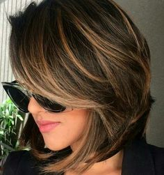 Short bob hairstyles, short volumn hairstyles,haircuts ,Brunette Bob Haircuts,Brown Balayage Bob With Side Bangs Chocolate Brown Hair Color, Brown Hair Colors, Hair Color For Tan Skin Tone, Brown Hair For Tan Skin, Hair With Color, Short Hair Colour, Chocolate Highlights, Chocolate Hair, Colors For Skin Tone