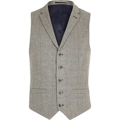 Light grey smart check waistcoat #riverisland #RImenswear