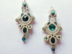 Soutache earrings emerald  glam rock elegance by mysweetcrochet, $66.00