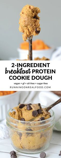 Vegan Protein Cookie Dough – Try it for breakfast! Vegan Protein Cookie Dough via Running on Real Food - Delicious Vegan Recipes Cookie Dough Vegan, Vegan Protein Cookies, Protein Powder Cookies, Protein Cookie Dough, Healthy Protein Snacks, Cookie Dough Recipes, Protein Powder Recipes, Protein Bites, Healthy Cookies