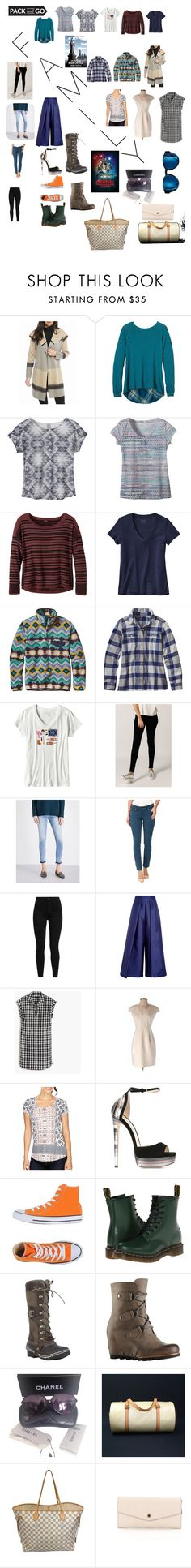 """Visiting famil you have to put on your best face and pretend the world is ok"" by adam123-1 ❤ liked on Polyvore featuring Calvin Klein, prAna, Patagonia, Hudson Jeans, Lucky Brand, Levi's, Solace, J.Crew, Jimmy Choo and Converse"