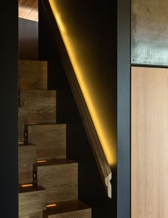 It made its debut on Grand Designs NZ, and this new home by Paul Clarke named 'The Crossing', brings its owner surprising happiness Interior Stairs, Interior Architecture, Interior Ideas, Dark Hallway, Residential Lighting, Inside Home, Classic Paintings, Steel House, Grand Designs